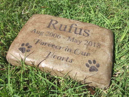 "Personalized Engraved Pet Memorial  Stone 8.5""x5.5"" Forever in Our Hearts Paws"