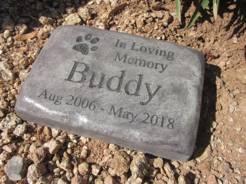 "Personalized Engraved Pet Memorial  Stone 8.5""x5.5"" In Loving Memory Paws"