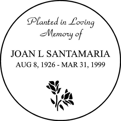 "Personalized Engraved Memorial  Stone 11""  Diameter JOAN L SANTAMARIA_custom"