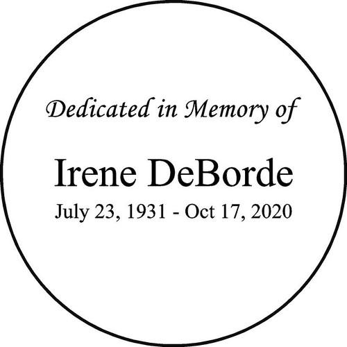 "Personalized Engraved Memorial  Stone 11""  Diameter Irene DeBorde_custom"