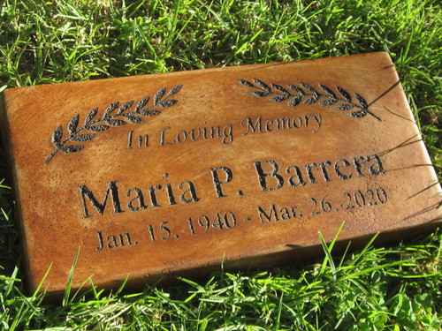 """Personalized Engraved Pet Memorial  Stone 11.5""""x 5.5"""" In Loving Memory(Leaves)"""