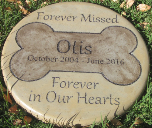 "Personalized Engraved Pet Memorial  Stone 11""Diameter 'Forever Missed Forever in Our Hearts'"