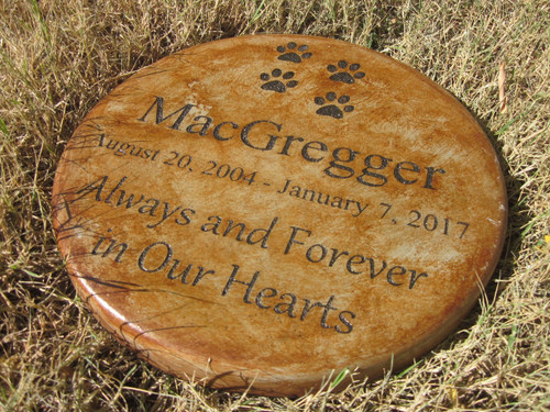 "Personalized Engraved Pet Memorial  Stone 11""Diameter"" 'Always and Forever in Our Hearts'"