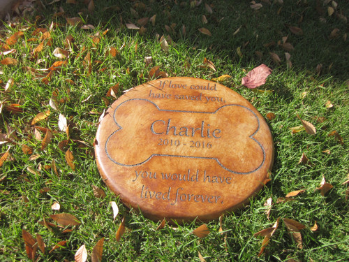 """Personalized Engraved Pet Memorial  Stone 11"""" Diameter 'If Love Could Have'"""