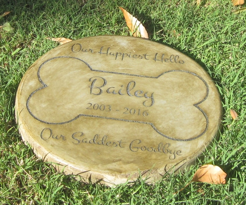 "Personalized Engraved Pet Memorial  Stone 11"" Diameter 'Our Happiest Hello"
