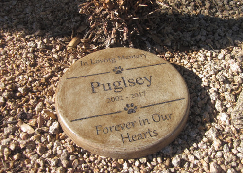 """Personalized Engraved Pet Memorial  Stone 11"""" Diameter 'In Loving Memory / Forever in Our Hearts"""