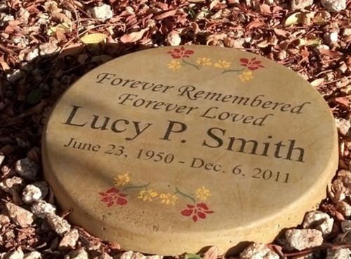 """Personalized Engraved Memorial Garden Stone  11"""" Diameter  'Forever Remembered Forever Loved''"""