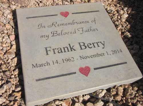 """Personalized Engraved Memorial Garden Stone 12x12"""" In Remembrance of my Beloved <RELATIONSHIP> """