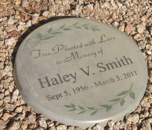 """Personalized Engraved Memorial Garden Stone 11"" Diameter 'Tree Planted with Love in Memory of"""