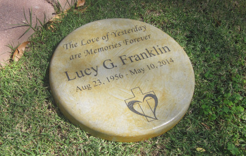 "Personalized Engraved Memorial Garden Stone 11"" Diameter The Love of Yesteryear are Our Memories Forever"
