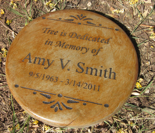 Personalized Engraved Memorial Garden Stone 11' Diameter  'Tree is dedicated in Memory of'