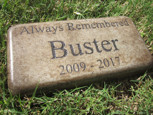 """Personalized Engraved Pet Memorial  Stone 8""""x4"""" (Brick Size) 'Always Remembered'"""
