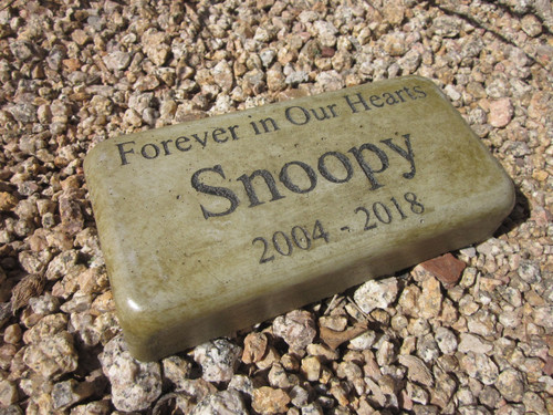 """Personalized Engraved Pet Memorial  Stone 8""""x4"""" (Brick Size) 'Forever in Our Hearts'"""