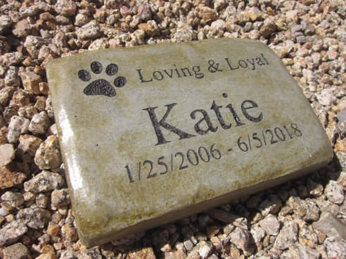 "Personalized Engraved Pet Memorial  Stone 8.5""x5.5"" Loving and Loyal"