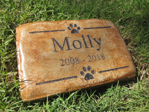 "Personalized Engraved Pet Memorial  Stone 8.5""x5.5"" Paws"