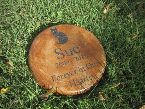 """Personalized Engraved Pet Memorial  Stone 7.5""""Diameter Forever in Our Hearts (cat)"""