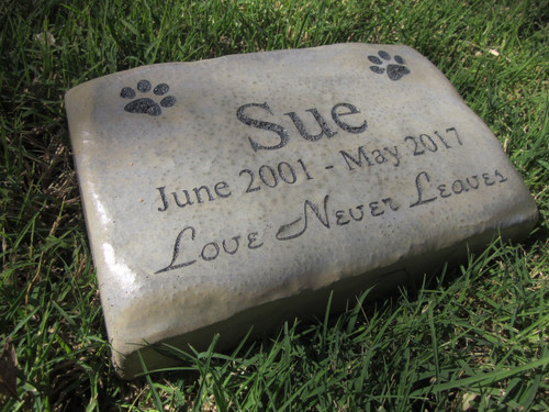 "Personalized Engraved Pet Memorial  Stone 8.5""x5.5"" Love Never Leaves"