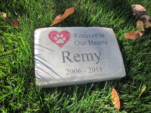 "Personalized Engraved Pet Memorial  Stone 8.5""x5.5"" Forever in Our Hearts Paw_Heart(Red)"