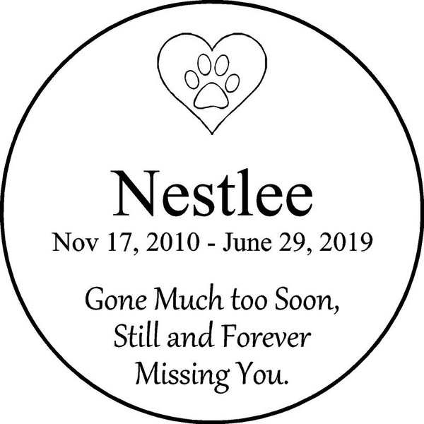 "Personalized Engraved Pet Memorial  Stone 11"" Nestlee_custom"