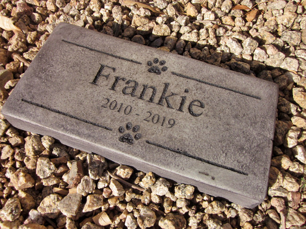 """Personalized Engraved Pet Memorial  Stone 11.5""""x 5.5""""  Paw Images"""