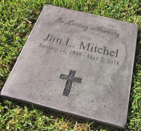 "Personalized Engraved Memorial Garden Stone 12""x12""In Loving Memory"