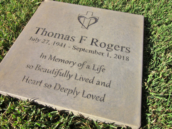 "Personalized Engraved Memorial Garden Stone 12""x12"" In Memory of a Life"