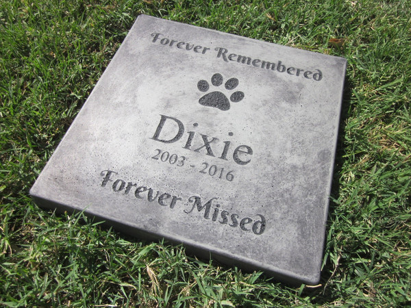 """Personalized Engraved Pet Memorial  Stone 12""""x 12""""  'Forever Remembered Forever Missed'"""