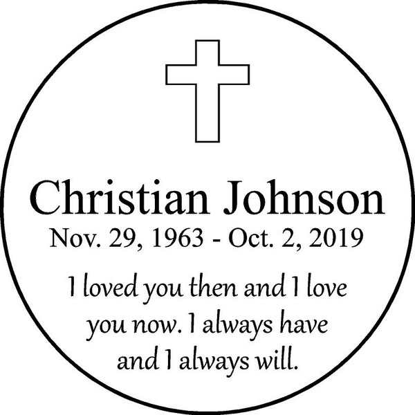 "Personalized Engraved Memorial  Stone 11"" Christian Johnson_custom"