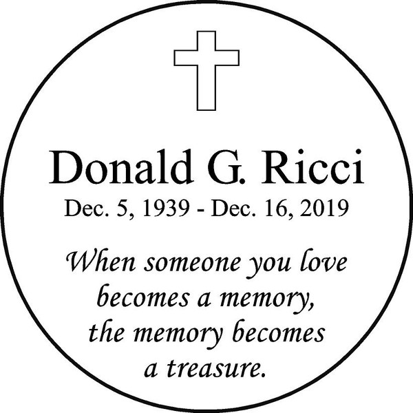"Personalized Engraved Memorial  Stone 11"" Donald G. Ricci_custom"