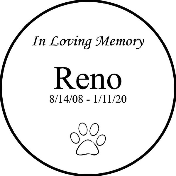 "Personalized Engraved Memorial  Stone 11""  Reno_custom"