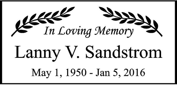 "Personalized Engraved  Memorial  Stone 11.5""""x 5.5""  Lanny V Sandstrom"