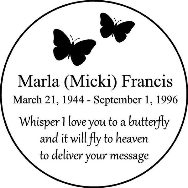 "Personalized Engraved Memorial  Stone 11"" Marla (Micki) Francis"
