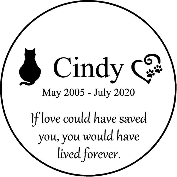 """Personalized Engraved Memorial  Stone 11"""" Cindy_custom"""