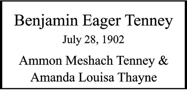 """Copy of Copy of Personalized Engraved Memorial  Stone 11.5 x 5.5"""" MSS122R_ABS_Benjamin Eager Tenney"""