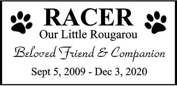 "Personalized Engraved Memorial  Stone 11.5 x 5.5"" RACER_CUSTOM"