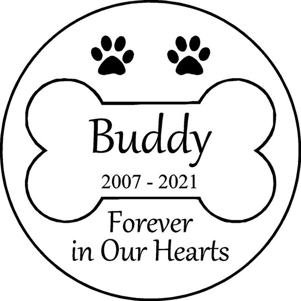 "Personalized Engraved Memorial  Stone 11""  Diameter _Buddy"