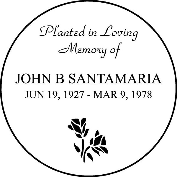 "Personalized Engraved Memorial  Stone 11""  Diameter JOHN B SANTAMARIA_custom"