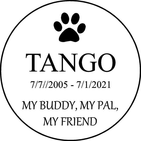 "Copy of Personalized Engraved Memorial  Stone 11""  Diameter TANGO_CUSTOM"