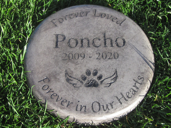 """Personalized Engraved Pet Memorial  Stone 7.5"""" Diameter Forever Loved Forever in Or Hearts"""