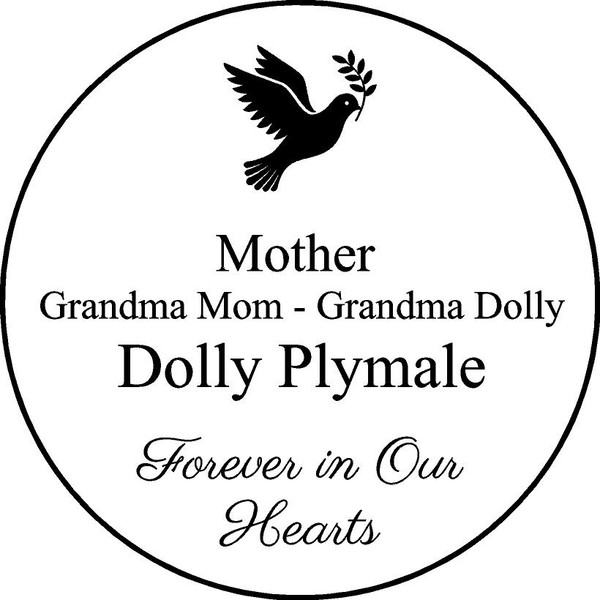"Personalized Engraved Memorial  Stone 11""  Diameter Dolly Plymale_custom"