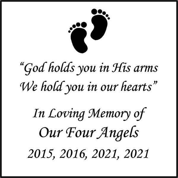 "Memories Step Stone 11.5""x11.5"" Our Four Angels_custom.jpg"