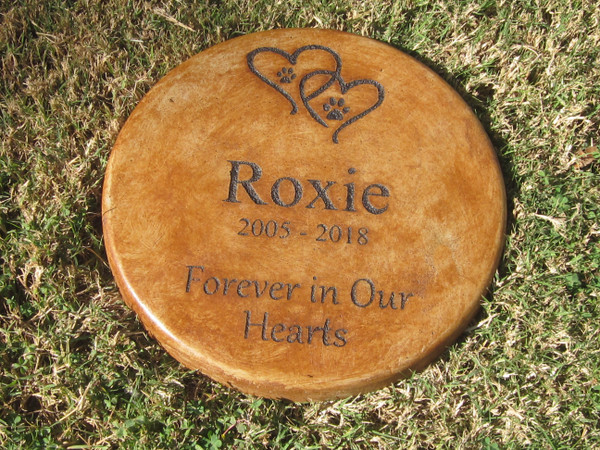 """Personalized Engraved Pet Memorial  Stone 11"""" Diameter 'Forever in Our Hearts'"""