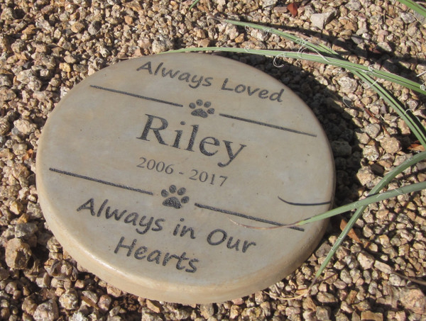 "Personalized Engraved Pet Memorial  Stone 11"" Diameter 'Always Loved / Always in Our Hearts"
