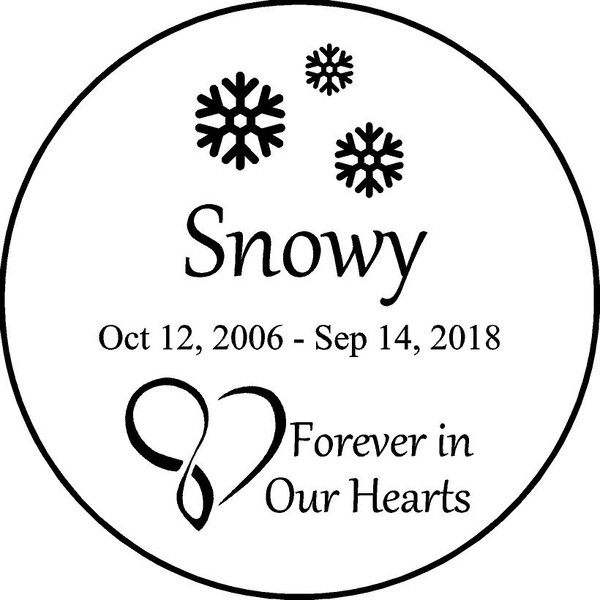 """Personalized Engraved Pet Memorial  Stone 11""""Diameter Forever in Our Hearts"""