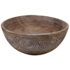 Lux tribal carved round bowl table decor 30 x 30 x13 cm