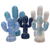 Mexican Cactus hand carved wooden Set of 5 Boho table decor Home Decor figurines White/Turq/Blue/Light Blue L 30 x 20 & M 18x15. 2 large and three small per set