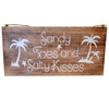 Wall art sign Sandy Toes and Salty Kisses Wall hanging coastal wall decor Hand Painted sign. Natural & white 40cm x 20 cm