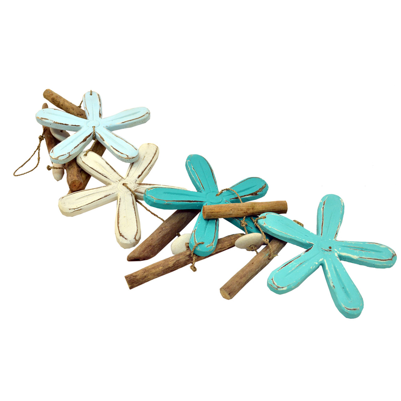 Driftwood Garland Four mixed coloured  Flowers with pebble & drift  100cm long