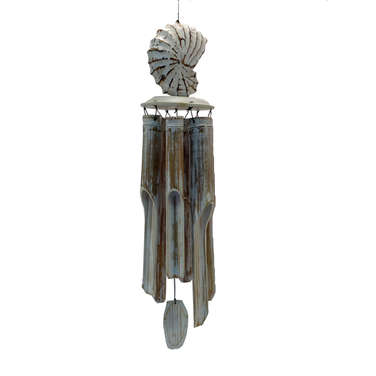 Beach House decor wind chime wood cone shell & bamboo Bamboo length 40cm  top of shell to bottom of chime 56cm