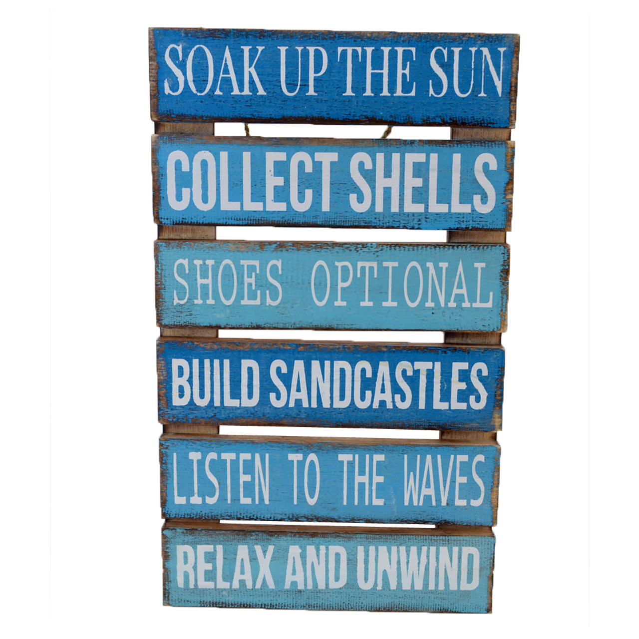 Beach House Hamptons Wall art Mixed Blue/Aqua/White Painted on slat frame 50cm x 30cm